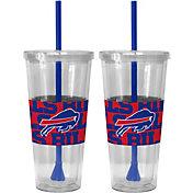 Boelter Buffalo Bills Bold Sleeved 22oz Straw Tumbler 2-Pack