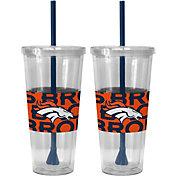 Boelter Denver Broncos Bold Sleeved 22oz Straw Tumbler 2-Pack