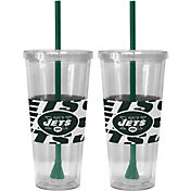 Boelter New York Jets Bold Sleeved 22oz Straw Tumbler 2-Pack