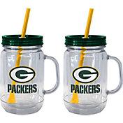 Boelter Green Bay Packers 20oz Handled Straw Tumbler 2-Pack