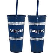 Boelter New England Patriots Bling 22oz Straw Tumbler 2-Pack