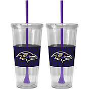 Boelter Baltimore Ravens Bold Sleeved 22oz Straw Tumbler 2-Pack