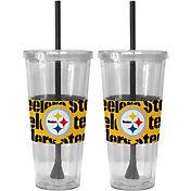 Boelter Pittsburgh Steelers Bold Sleeved 22oz Straw Tumbler 2-Pack