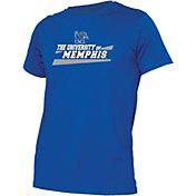 boxercraft Men's Memphis Tigers Blue Just for You Crew Wordmark and Logo T-Shirt