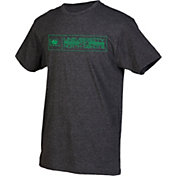 boxercraft Men's North Dakota Fighting Hawks Grey Just for You Crew Block Wordmark and Logo T-Shirt