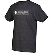 boxercraft Men's Indiana Hoosiers Grey Just for You Crew Block Wordmark and Logo T-Shirt