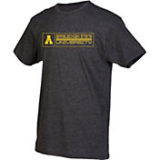 boxercraft Men's Appalachian State Mountaineers Grey Just for You Crew Block Wordmark and Logo T-Shirt