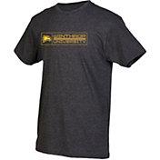 boxercraft Men's Winthrop Eagles Grey Just for You Crew Block Wordmark and Logo T-Shirt
