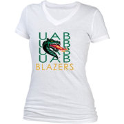 boxercraft Women's UAB Blazers Perfect Fit V-Neck White T-Shirt