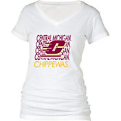boxercraft Women's Central Michigan Chippewas Perfect Fit V-Neck White T-Shirt