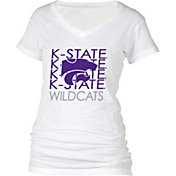 boxercraft Women's Kansas State Wildcats Perfect Fit V-Neck White T-Shirt