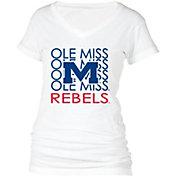 boxercraft Women's Ole Miss Rebels Perfect Fit V-Neck White T-Shirt