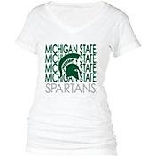 boxercraft Women's Michigan State Spartans Perfect Fit V-Neck White T-Shirt