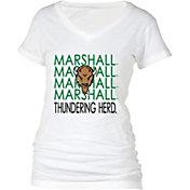 boxercraft Women's Marshall Thundering Herd Perfect Fit V-Neck White T-Shirt