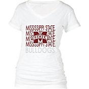 boxercraft Women's Mississippi State Bulldogs Perfect Fit V-Neck White T-Shirt