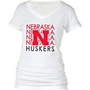 boxercraft Women's Nebraska Cornhuskers Perfect Fit V-Neck White T-Shirt