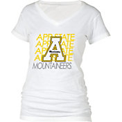 boxercraft Women's Appalachian State Mountaineers Perfect Fit V-Neck White T-Shirt