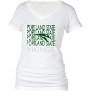 boxercraft Women's Portland State Vikings Perfect Fit V-Neck White T-Shirt