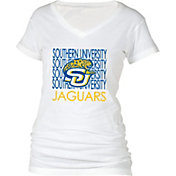 boxercraft Women's Southern University Jaguars Perfect Fit V-Neck White T-Shirt