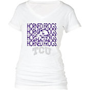 boxercraft Women's TCU Horned Frogs Perfect Fit V-Neck White T-Shirt