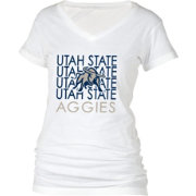 boxercraft Women's Utah State Aggies Perfect Fit V-Neck White T-Shirt