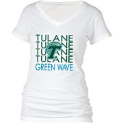 boxercraft Women's Tulane Green Wave Perfect Fit V-Neck White T-Shirt