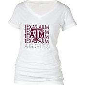 boxercraft Women's Texas A&M Aggies Perfect Fit V-Neck White T-Shirt