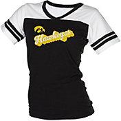 boxercraft Women's Iowa Hawkeyes Black/White Powder Puff T-Shirt