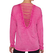 Betsey Johnson Performance Women's Strappy Back Long Sleeve Shirt