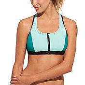 CALIA by Carrie Underwood Women's Solid Zip Front Bikini Top