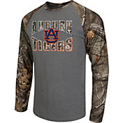 Colosseum Athletics Men's Auburn Tigers Grey/Camo Break Action Long Sleeve Shirt