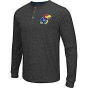 Colosseum Athletics Men's Kansas Jayhawks Charcoal Long Sleeve Henley T-Shirt