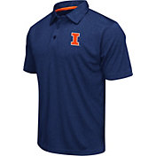 Colosseum Athletics Men's Illinois Fighting Illini Blue Heathered Performance Polo