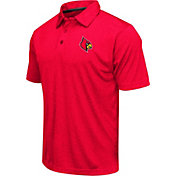 Colosseum Men's Louisville Cardinals Cardinal Red Heathered Performance Polo