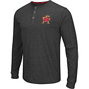 Colosseum Athletics Men's Maryland Terrapins Charcoal Long Sleeve Henley T-Shirt