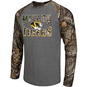 Colosseum Athletics Men's Missouri Tigers Grey/Camo Break Action Long Sleeve Shirt