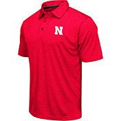 Colosseum Men's Nebraska Cornhuskers Red Heathered Performance Polo