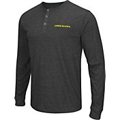 Colosseum Athletics Men's Oregon Ducks Charcoal Long Sleeve Henley T-Shirt