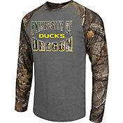 Colosseum Athletics Men's Oregon Ducks Grey/Camo Break Action Long Sleeve Shirt