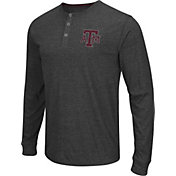 Colosseum Athletics Men's Texas AM Aggies Charcoal Long Sleeve Henley T-Shirt
