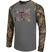 Colosseum Athletics Men's Texas A&M Aggies Grey/Camo Break Action Long Sleeve Shirt