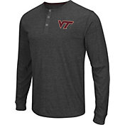 Colosseum Athletics Men's Virginia Tech Hokies Charcoal Long Sleeve Henley T-Shirt