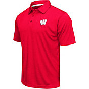 Colosseum Athletics Men's Wisconsin Badgers Red Heathered Performance Polo