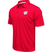 Colosseum Men's Wisconsin Badgers Red Heathered Performance Polo