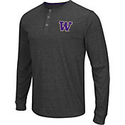 Colosseum Athletics Men's Washington Huskies Charcoal Long Sleeve Henley T-Shirt