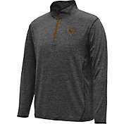 Colosseum Athletics Men's Wyoming Cowboys Black Action Pass Quarter Zip Long Sleeve Performance Shirt