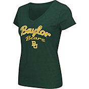 Colosseum Athletics Women's Baylor Bears Green Script Graphic V-Neck T-Shirt