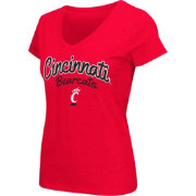 Colosseum Athletics Women's Cincinnati Bearcats Red Script Graphic V-Neck T-Shirt