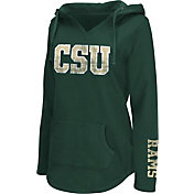 Colosseum Athletics Women's Colorado State Rams Green Walkover V-Neck Hooded Pullover