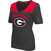 Colosseum Athletics Women's Georgia Bulldogs Grey Twist V-Neck T-Shirt